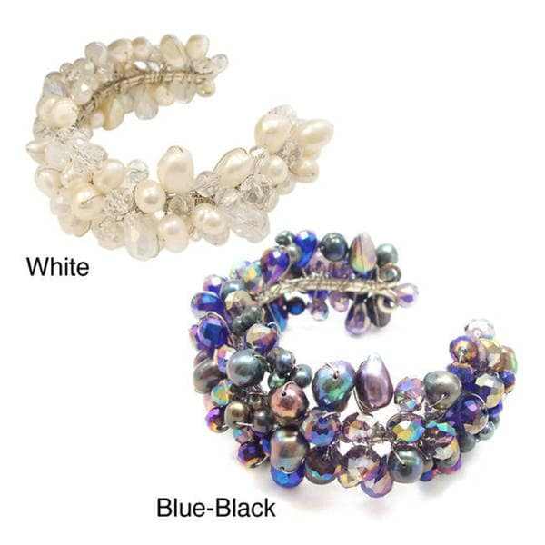 Handmade White Crystal and Pearl Cluster Beam Adjustable Cuff (Thailand)