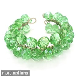 Sweet Green Sheen Crystal Handmade Adjustable Cuff (Thailand)