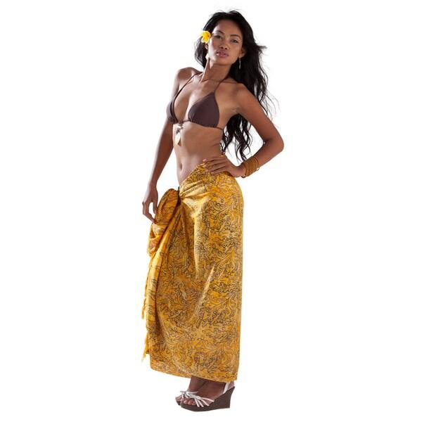 1 World Sarongs Women's Yellow Abstract Filigree Sarong