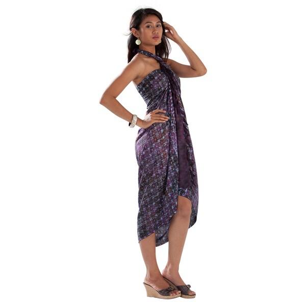1 World Sarongs Women's Dark Purple Abstract Star Sarong (Indonesia)