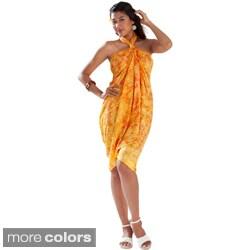1 World Sarongs Women's Yellow Leaf Sarong (Indonesia)