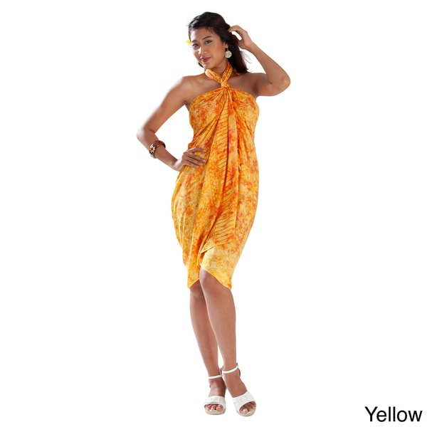 Handmade 1 World Sarongs Women's Yellow Leaf Sarong (Indonesia)