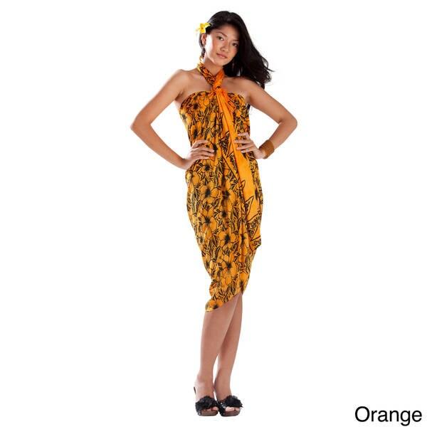 1 World Sarongs Women's Hibiscus Flower Rayon Sarong (Indonesia)