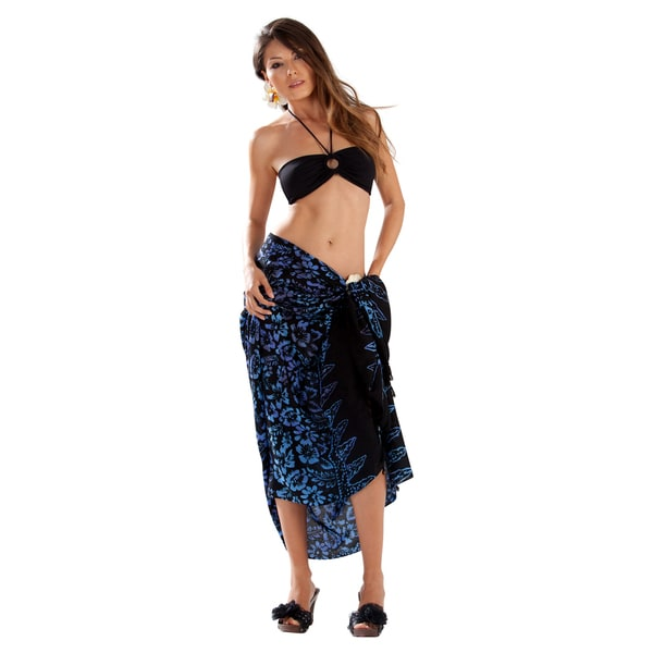 Handmade 1 World Sarongs Women's Black Blue and Purple Floral Sarong (Indonesia)