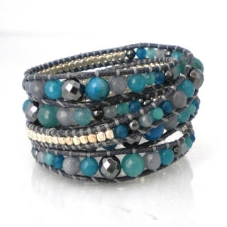 Handmade Gemstone Snake Cord Leather Wrap Bracelet (Thailand)
