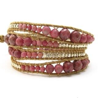 Handmade Gemstone Snake Cord Leather Wrap Bracelet (Thailand) (4 options available)