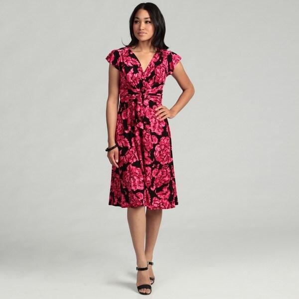 Evan Picone Women's Pink Floral Dress