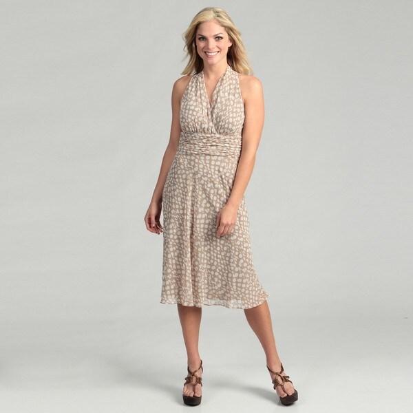 Evan Picone Women's Khaki/ Ivory Polka-dot Dress FINAL SALE