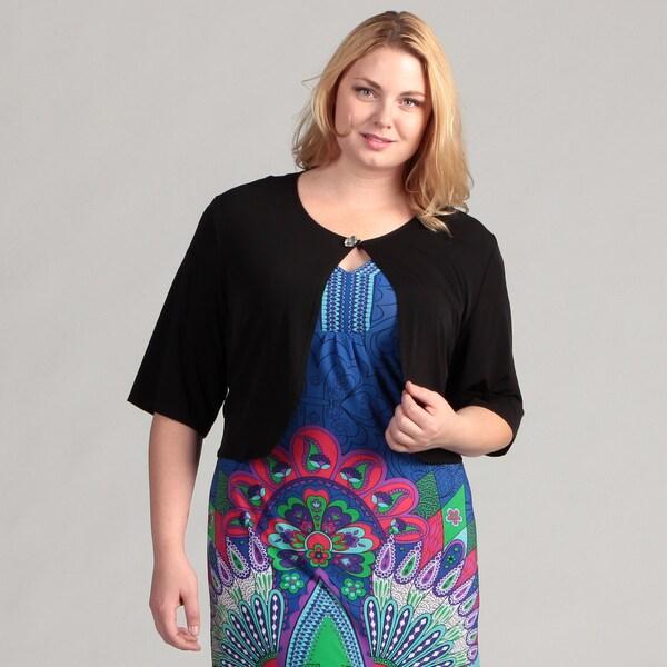 Glamour Women's Black Plus Size Button Shrug