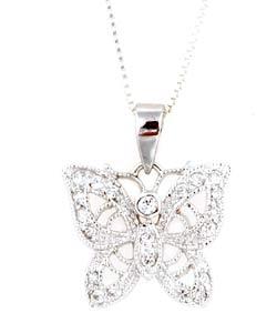 Icz Stonez Stering Silver CZ Filigree Butterfly Pendant
