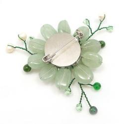 Handmade Dark Green Charming Lotus Flower Aventurine Stone Pin-Brooch (Thailand) - Thumbnail 1
