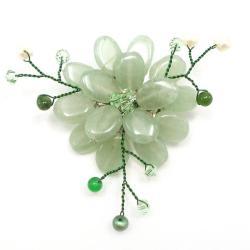 Handmade Dark Green Charming Lotus Flower Aventurine Stone Pin-Brooch (Thailand)