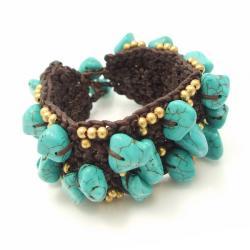 Handmade Turquoise-Brass Beads Embedded Cotton Rope Bracelet (Thailand)