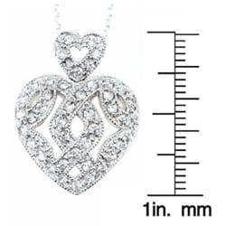 Icz Stonez Sterling Silver CZ Filigree Heart Pendant
