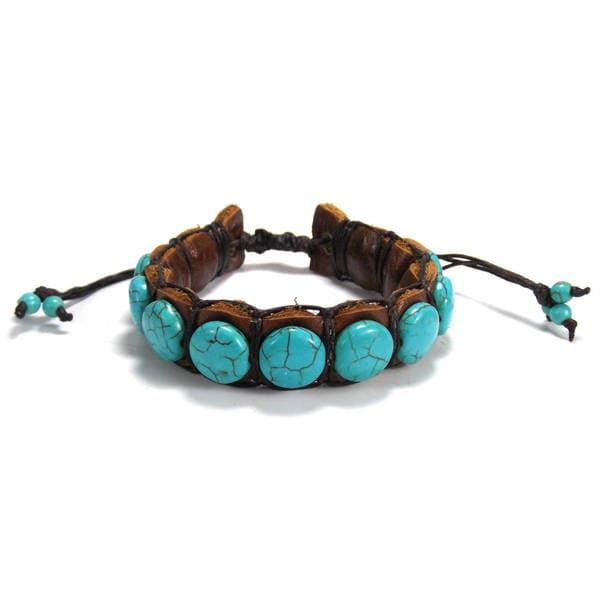 Handmade Round Turquoise Stones Leather Pull Slide Bracelet (Thailand)