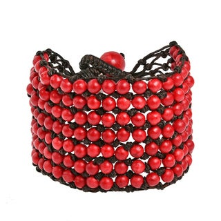 Handmade Turquoise or Red Coral 7-row Net Toggle Bracelet (Thailand)
