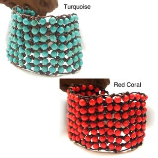 Turquoise or Red Coral 7-row Net Toggle Bracelet (Thailand)