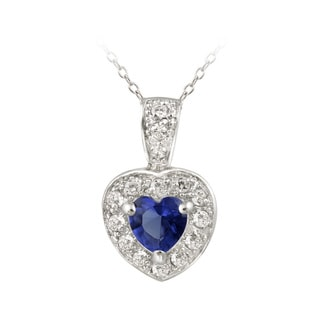 Icz Stonez Sterling Silver Blue CZ Heart Pendant