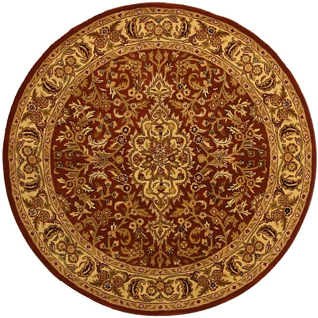 Hand-tufted Wool Rust Traditional Oriental  Rust Simba Rug (6' Round)