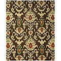 Hand-tufted Wool Brown Contemporary Ikat Ikat Rug - 7'9 x 9'9