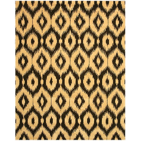 """Hand-tufted Wool Black Contemporary Abstract Gold Ikat Rug - 7'9"""" x 9'9"""""""