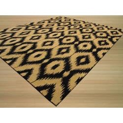 Hand-tufted Wool Black Contemporary Abstract Gold Ikat Rug (7'9 x 9'9) - Thumbnail 1