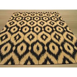 Hand-tufted Wool Black Contemporary Abstract Gold Ikat Rug (7'9 x 9'9) - Thumbnail 2