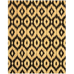Hand-tufted Wool Black Contemporary Abstract Gold Ikat Rug - 7'9 x 9'9 - Thumbnail 0