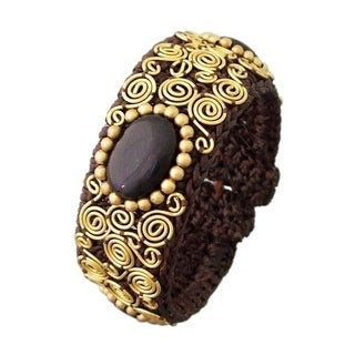 Handmade Gemstone Spiral Brass Cotton Cuff (Thailand)