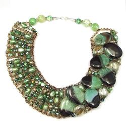 Green Agate and Pearl Mix Bib Necklace (Thailand)