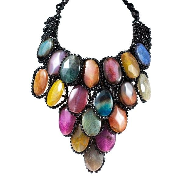 Handmade Egyptian Princess Multicolor Agate Drape Necklace (Thailand)