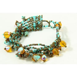 Multi-Strand Czech Turquoise/Brown Beaded Bracelet (Guatemala)