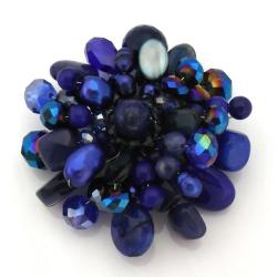 Handmade Blue Blossoming Lotus Lapis Stone Floral Pin/Brooch (Thailand)