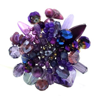 Handmade Purple Blossoming Lotus Amethyst Stone Floral Pin/Brooch (Thailand)