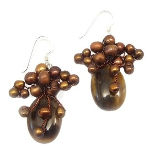 Handmade Honey Fantasy Freshwater Dyed Pearl-Tiger's Eye Earrings (Thailand)