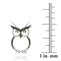 DB Designs Sterling Silver Black Diamond Accent Owl Necklace - Thumbnail 2