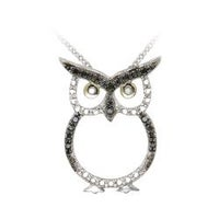 Shop sterling silver 110ct tdw diamond owl critter necklace j k db designs sterling silver black diamond accent owl necklace mozeypictures Image collections