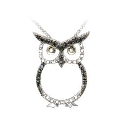 DB Designs Sterling Silver Black Diamond Accent Owl Necklace