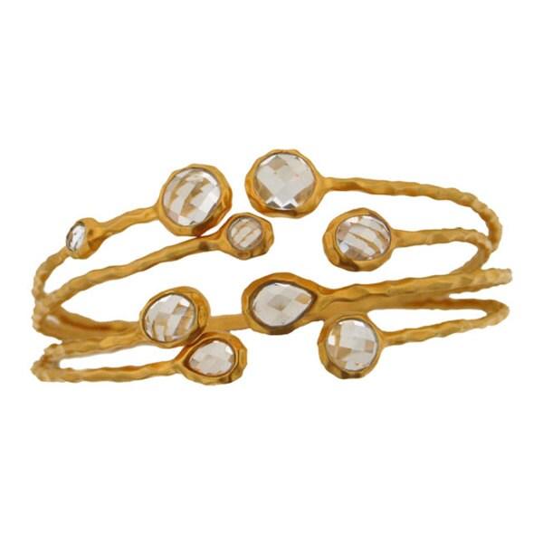 Gold over Sterling Silver White Topaz 4-piece Cuff Bracelet Set