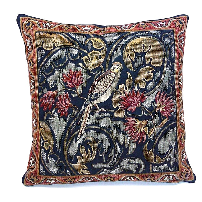 Corona Decor French Woven 'Bird and Flower' Pillow - Thumbnail 0