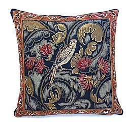 Corona Decor French Woven 'Bird and Flower' Pillow