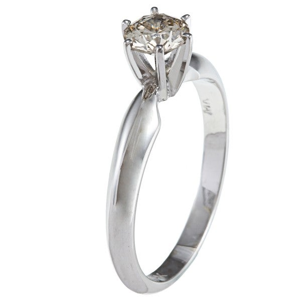 Victoria Kay 14k White Gold 1/2ct TDW Certified Diamond Solitaire Engagement Ring (J-K, I1-I2)