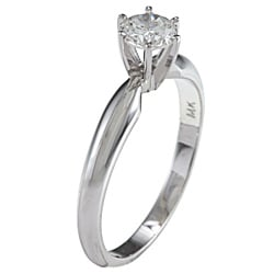 Victoria Kay 14k Gold Certified 1/2ct TDW Round Solitaire Diamond Ring (F-G, SI2)
