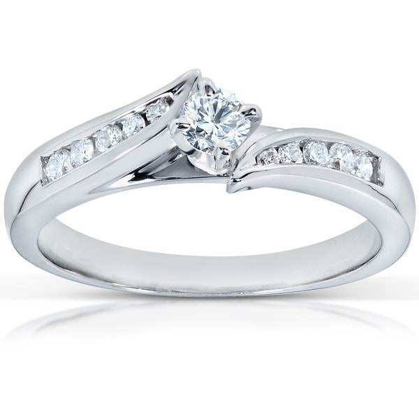 Annello by Kobelli 14k White Gold 1/4ct TDW Diamond Engagement Ring