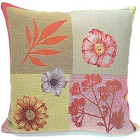 Corona Decor French Woven Feather and Down Filled Flower Theme Decorative Throw Pillow
