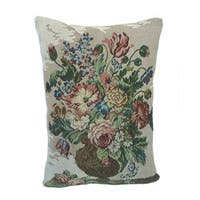 Corona Decor French Woven Flower Theme Blue/Green Decorative Pillow