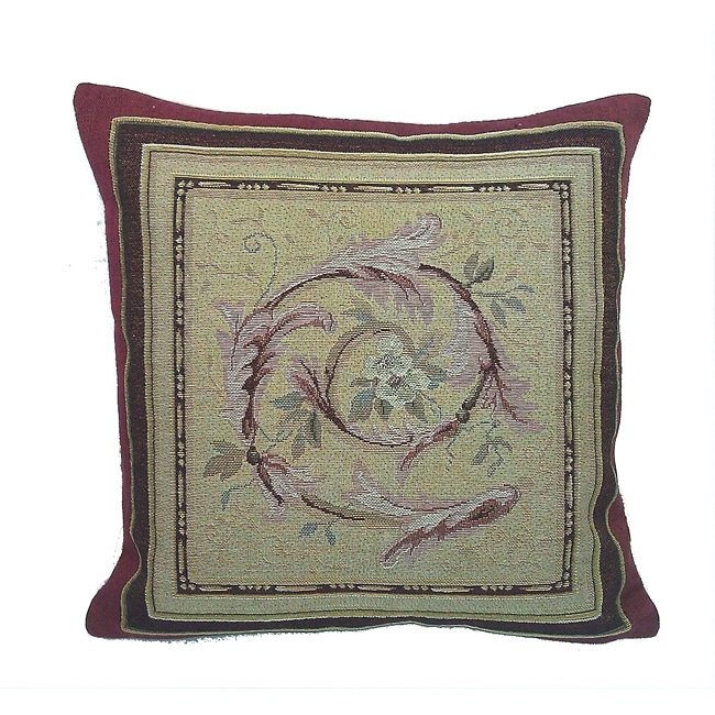 Corona Decor French Woven Flower Theme Feather/Down Decorative Pillow