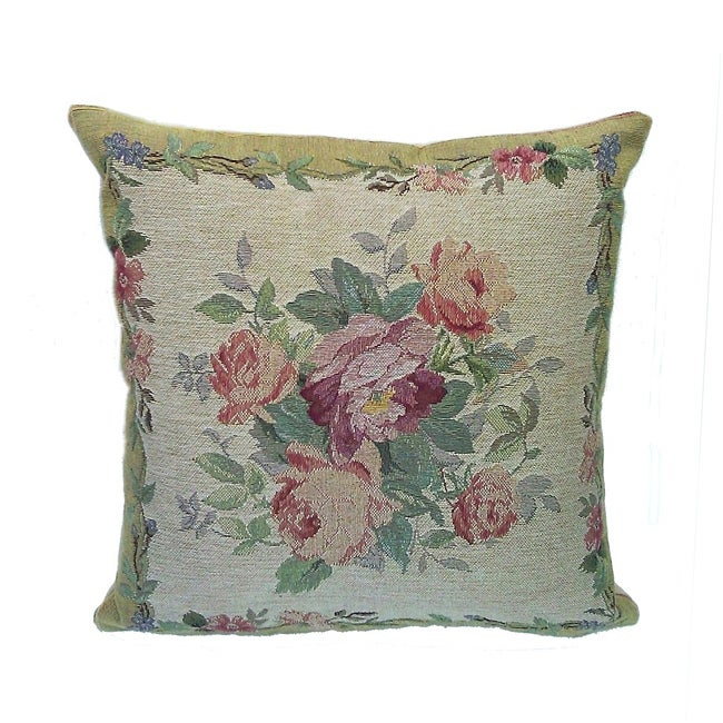 Corona Decor French Woven Flower Theme Rose/Green Decorative Pillow - Thumbnail 0