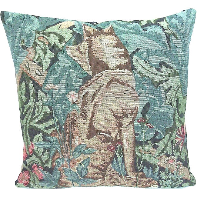 Corona Decor French Woven Fox Feather and Down Filled Square Decorative Pillow