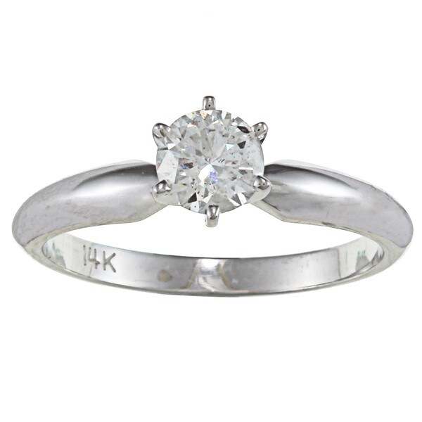 Victoria Kay 14k Gold 1/2ct TDW Certified Diamond Solitaire Engagement Ring